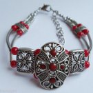 Tribal Style Red Silver Bracelet