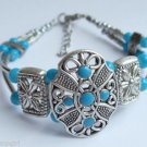 Tribal Style Turquoise Silver Bracelet