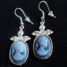 Blue Cameo Earrings silver with crystal stones