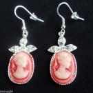 Red Cameo Earrings silver with crystal stones