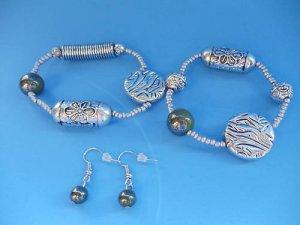 Silver Green Beaded Bracelet Earrings set