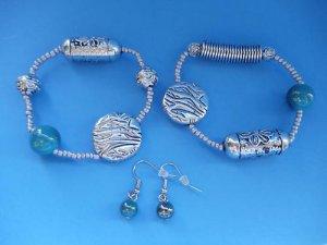 Silver teal Beaded Bracelet Earrings set