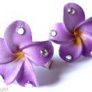 "set of 2 Plumeria Flower Hair Clips 1 1/2""  Purple"
