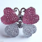 Pink White Sparkle Butterfly Cocktail Ring Adjustable band silver crystal