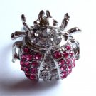 Soft Pink Crystal Ladybug Cocktail Ring adjustable band Silver