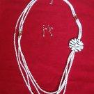 White Zebra Print Beaded Necklace Earrings Set