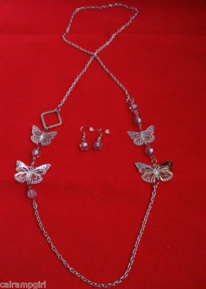 Antique Silver Butterfly Necklace Earrings set gray beads