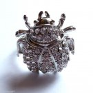 Clear Crystal Ladybug Cocktail Ring adjustable band Silver