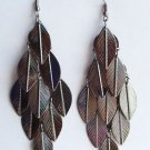 "4"" long Antique Silver Leaf Earrings"