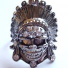 Silver Skull Cocktail Ring adjustable band crystal stones Biker