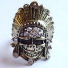 Gold Skull Cocktail Ring adjustable band crystal stones Biker