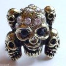 Gold Skulls Cocktail Ring adjustable band crystal stones Biker