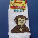 Curious George Socks Kids size 6-8 White Who Me?