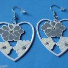 """2"""" Gray White Heart Metal Flower Earrings Plumeria"""