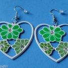 """2"""" Green White Heart Metal Flower Earrings Plumeria"""