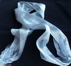 Gray Silver Glitz Sparkle Scarf sash headwrap 3 n 1 White