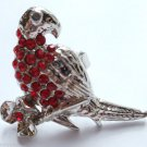Silver Crystal Bird Parrot Cocktail Ring adjustable band Red