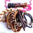 Mixed Pack Ponytail holders and mini Jaw clips Brown