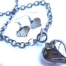 Puffy Antique Silver Heart Toggle chain link Necklace earrings set