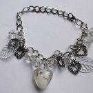 Silver Chain Charm Bracelet white Glass Hearts leaves