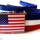 American Flag Belt USA Canvas Red White Blue