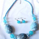 Blue Marble Beaded Necklace earrings set