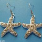 Starfish Earrings silver clear crystal rhinestones