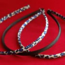Satin Headbands set 3 Animal Print designs Blue Black White Leopard Cheetah