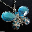 "Large Blue Butterfly Necklace Silver 30""chain"