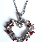 "Red Shimmering Crystal Heart Necklace 30"" silver chain"