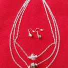 Long Crystal Glass Necklace Earrings Set 3 Line Silver