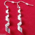 """Silver Twist corkscrew Dangle Fashion Earrings 1 1/2"""""""