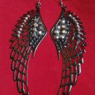 "Large Black Angel Wings Earrings 4"" with rhinestones"