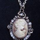 Antique Silver Cameo Necklace Golden Brown face