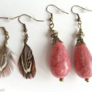 2 Pair Antique Gold Pink Marble Earrings and Mini Feathers