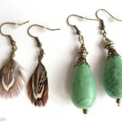2 Pair Antique Gold Green Marble Earrings and Mini Feathers