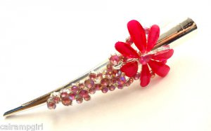 "Pink Claw Hair Clip 5"" Flower Burst"