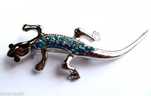 Lizzard Pin Brooch silver Teal crystal rhinestones