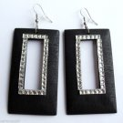 Black Wood Rectangle Dangle Fashion Earrings 3""