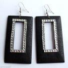 """Black Wood Rectangle Dangle Fashion Earrings 3"""""""