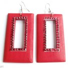 Red Wood Rectangle Dangle Fashion Earrings 3""