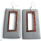Gray Wood Rectangle Dangle Fashion Earrings 3""
