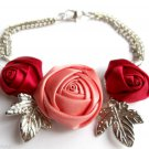Satin Roses flower Bracelet With Silver Leaves Red and Coral