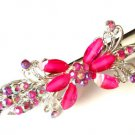 "Pink Flower hair Clip 5"" Claw with crystals"
