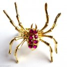 Large Gold Fuschia Pink Crystal Spider Cocktail Ring adjustable band