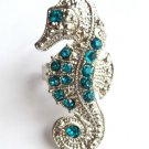 Teal Crystal Sea Horse Cocktail Ring Silver adjustable band
