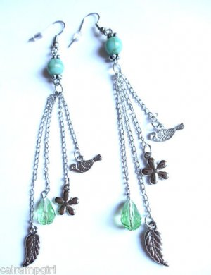 Turquoise Silver Earrings Green birds feathers flowers