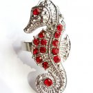 Red Crystal Sea Horse Cocktail Ring Silver adjustable band