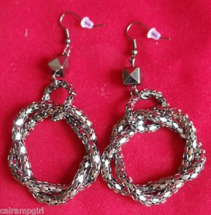 "Antique Silver Mesh Rope Earrings 3"" long"