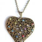 Large Antique Gold Heart Necklace Rainbow crystal stones